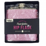 Hip flask in pink glitter